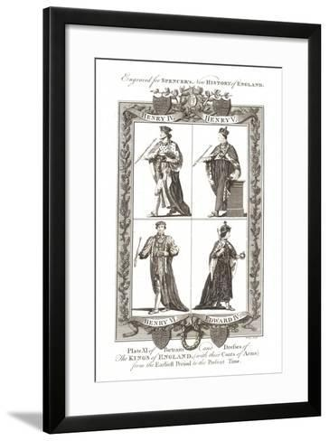 Portraits and Dresses of the Kings of England with Coats of Arms, 1784--Framed Art Print