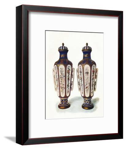 A Pair of Unique Hexagonal-Shaped Sevres Vases' 1906--Framed Art Print