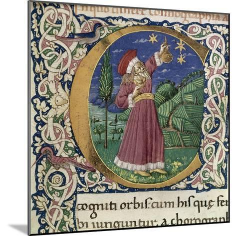 Claudius Ptolemy. Detail of a Historiated Initial C (Cosmographi), Second Half of the 15th C--Mounted Giclee Print