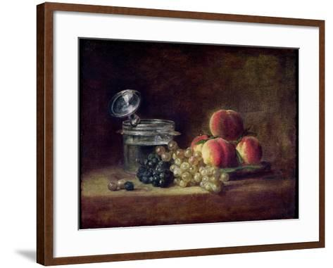 Still Life with a Basket of Peaches, White and Black Grapes, Cooler and Wineglass-Jean-Baptiste Simeon Chardin-Framed Art Print