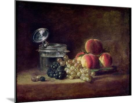 Still Life with a Basket of Peaches, White and Black Grapes, Cooler and Wineglass-Jean-Baptiste Simeon Chardin-Mounted Giclee Print