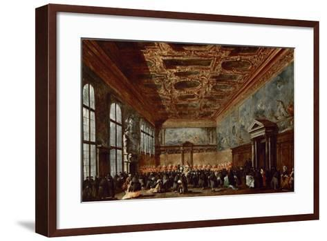 The Doge of Venice Giving Audience in the Sala Del Collegio in the Doge's Palace-Francesco Guardi-Framed Art Print