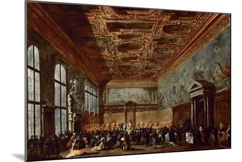 The Doge of Venice Giving Audience in the Sala Del Collegio in the Doge's Palace-Francesco Guardi-Mounted Giclee Print