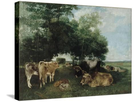 Nap During the Haying Season, Doubs Mountains-Gustave Courbet-Stretched Canvas Print