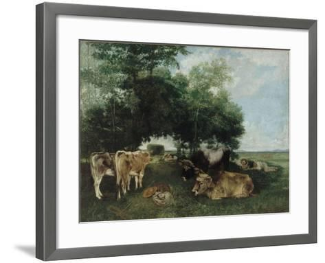 Nap During the Haying Season, Doubs Mountains-Gustave Courbet-Framed Art Print