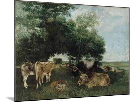 Nap During the Haying Season, Doubs Mountains-Gustave Courbet-Mounted Giclee Print