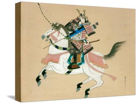 Samurai Warrior Riding a Horse, a Japanese Painting on Silk, in a Traditional Japanese Style--Stretched Canvas Print