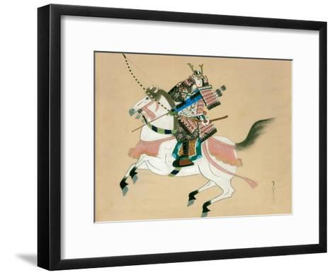 Samurai Warrior Riding a Horse, a Japanese Painting on Silk, in a Traditional Japanese Style--Framed Art Print