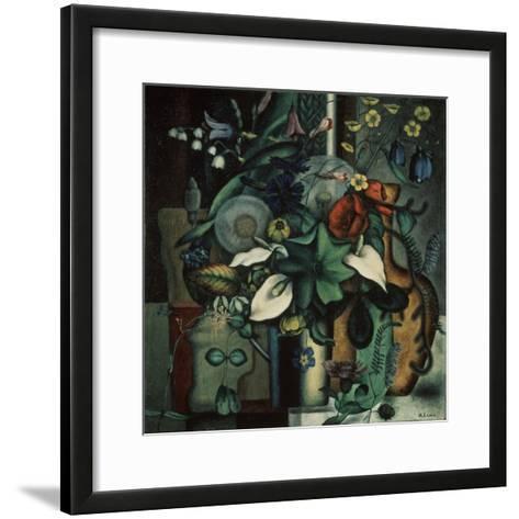 Still Life with Flowers and Jug, 1929-Ivan Vassilyevich Klyun-Framed Art Print