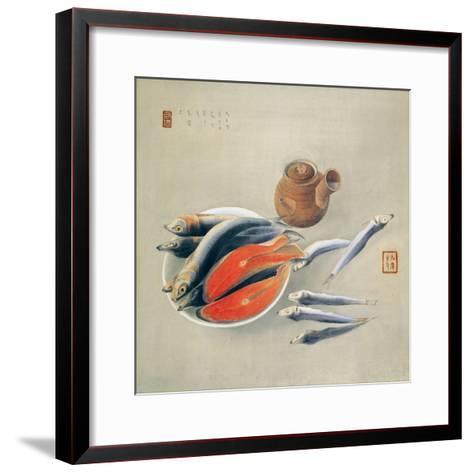 Still Life. Salmon Slices and Sardines, 1924-Tsuchida Bakusen-Framed Art Print