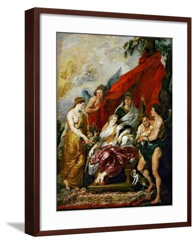 The Birth of the Dauphin at Fontainebleau (The Marie De' Medici Cycl)-Peter Paul Rubens-Framed Art Print