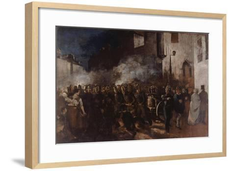 Firemen Running to a Fire-Gustave Courbet-Framed Art Print