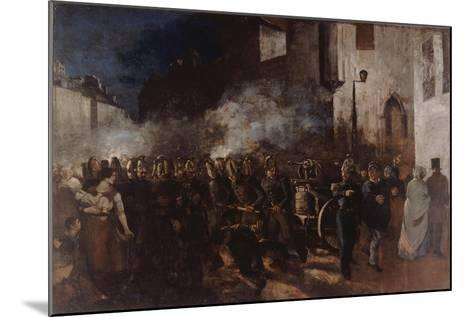 Firemen Running to a Fire-Gustave Courbet-Mounted Giclee Print