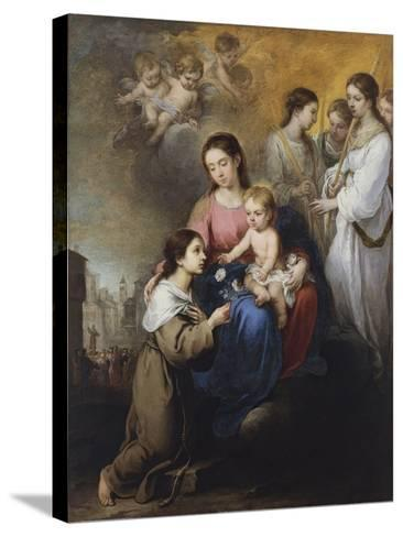 The Virgin and Child with Saint Rose of Viterbo-Bartolom? Esteb?n Murillo-Stretched Canvas Print