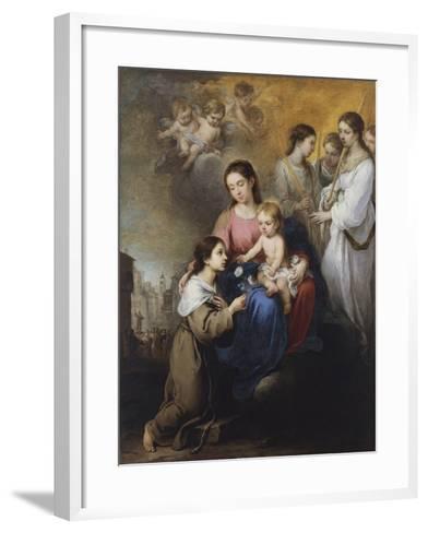 The Virgin and Child with Saint Rose of Viterbo-Bartolom? Esteb?n Murillo-Framed Art Print