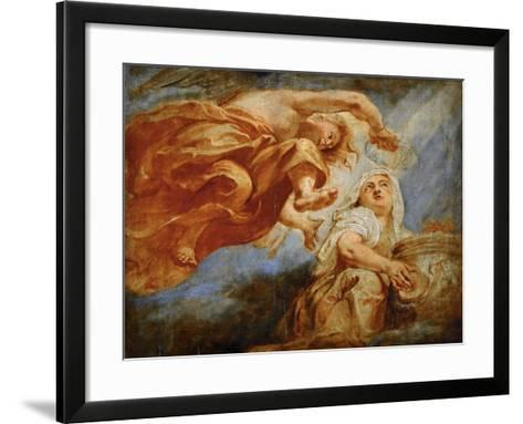 Genius Crowning Religion. Sketch for the Apotheosis of King James I-Peter Paul Rubens-Framed Art Print
