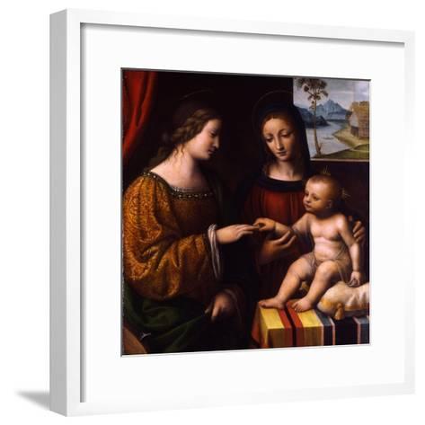 The Mystical Marriage of Saint Catherine, C. 1520-Bernardino Luini-Framed Art Print