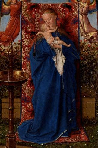 Madonna and Child at the Fountain-Jan van Eyck-Stretched Canvas Print