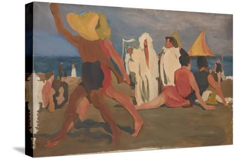 Bathers on the Lido, Venice (Serge Diaghilev and Vaslav Nijinsky on the Beac)-L?on Bakst-Stretched Canvas Print