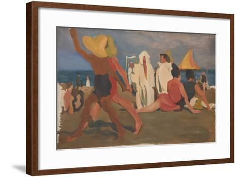 Bathers on the Lido, Venice (Serge Diaghilev and Vaslav Nijinsky on the Beac)-L?on Bakst-Framed Art Print