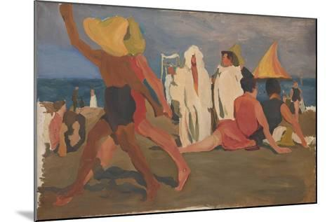 Bathers on the Lido, Venice (Serge Diaghilev and Vaslav Nijinsky on the Beac)-L?on Bakst-Mounted Giclee Print