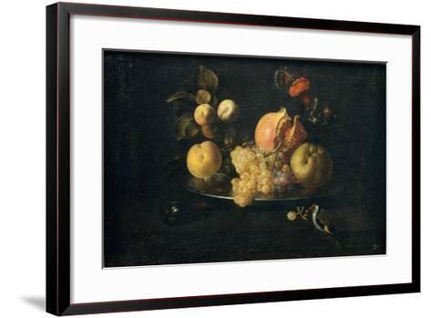 Still Life with Fruit and Goldfinch-Juan de Zurbarán-Framed Art Print