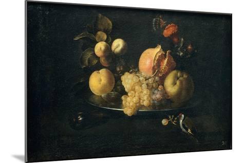 Still Life with Fruit and Goldfinch-Juan de Zurbarán-Mounted Giclee Print
