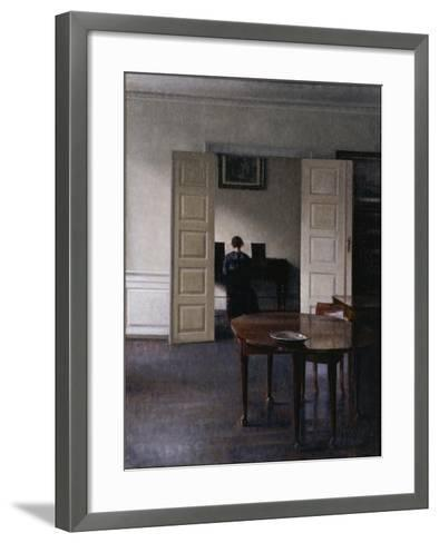 Interior with Ida Playing the Piano-Vilhelm Hammershoi-Framed Art Print