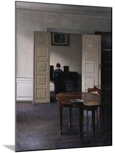 Interior with Ida Playing the Piano-Vilhelm Hammershoi-Mounted Giclee Print