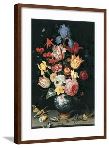Chinese Vase with Flowers, Shells and Insects-Balthasar van der Ast-Framed Art Print
