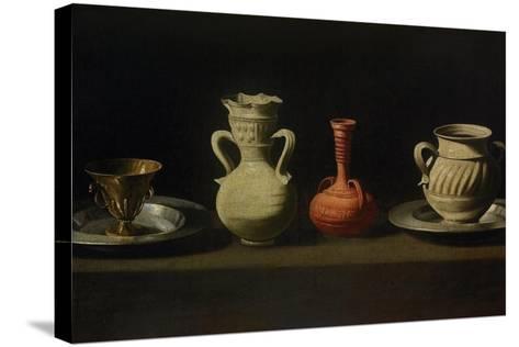 Still Life with Four Vessels-Francisco de Zurbar?n-Stretched Canvas Print