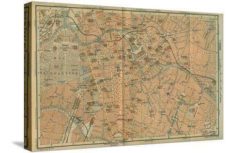 Map of Berlin Center, from a Travel Guide Baedeker's Northeast Germany, 1892- Leipzig Wagner & Debes-Stretched Canvas Print