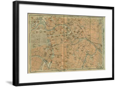 Map of Berlin Center, from a Travel Guide Baedeker's Northeast Germany, 1892- Leipzig Wagner & Debes-Framed Art Print