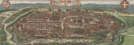 Bird's-Eye View of Vienna from North, 1609-Jacob Hoefnagel-Stretched Canvas Print