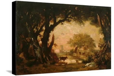 Clearing in the Woods of Fontainebleau-Th?odore Rousseau-Stretched Canvas Print