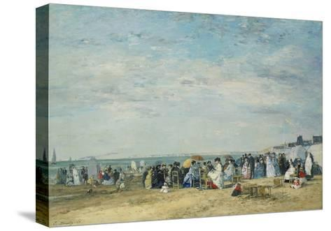 The Beach at Trouville-Eug?ne-Louis Boudin-Stretched Canvas Print