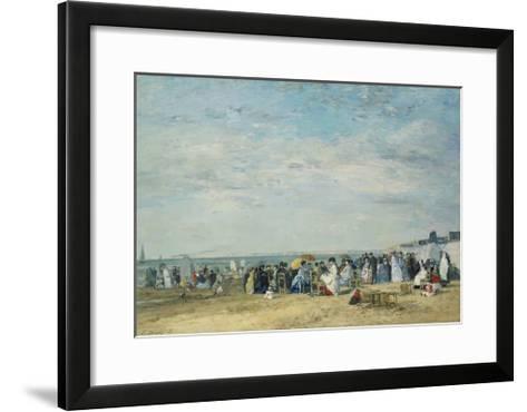 The Beach at Trouville-Eug?ne-Louis Boudin-Framed Art Print