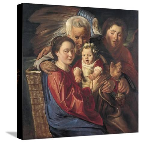 The Holy Family with an Angel-Jacob Jordaens-Stretched Canvas Print
