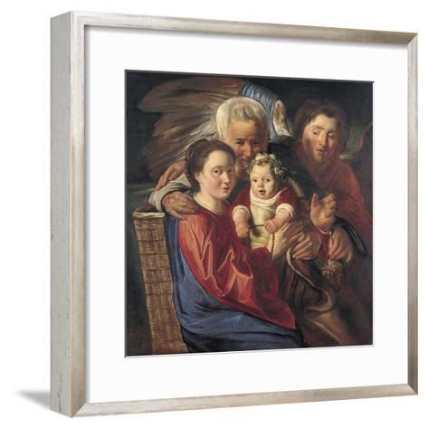 The Holy Family with an Angel-Jacob Jordaens-Framed Art Print
