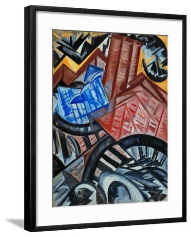 Factory and the Bridge-Olga Vladimirovna Rozanova-Framed Art Print