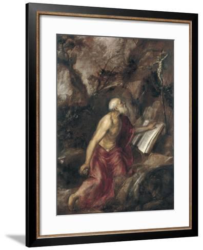 The Penitent Saint Jerome-Titian (Tiziano Vecelli)-Framed Art Print