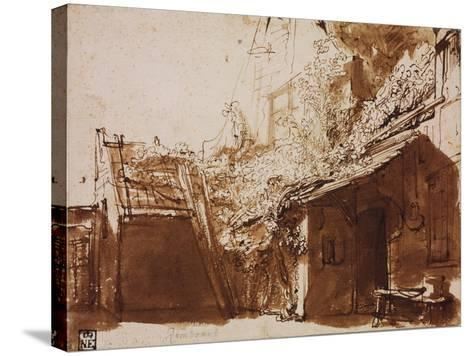 Farmhouse in Light and Shadow-Rembrandt van Rijn-Stretched Canvas Print