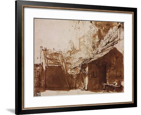 Farmhouse in Light and Shadow-Rembrandt van Rijn-Framed Art Print