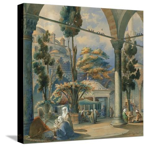 Courtyard of the Sultan Bayezid Mosque in Constantinople-Amedeo Preziosi-Stretched Canvas Print