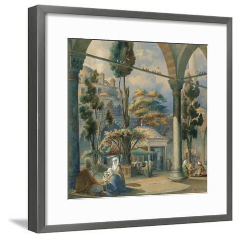Courtyard of the Sultan Bayezid Mosque in Constantinople-Amedeo Preziosi-Framed Art Print