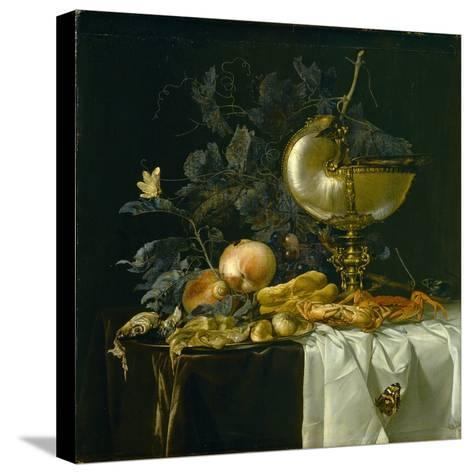Still-Life with Nautilus Cup-Willem van Aelst-Stretched Canvas Print