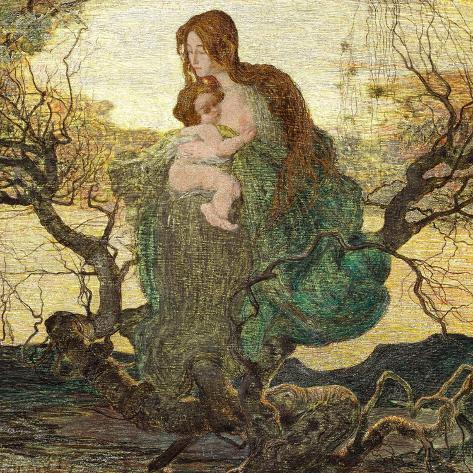 The Angel of Life-Giovanni Segantini-Stretched Canvas Print