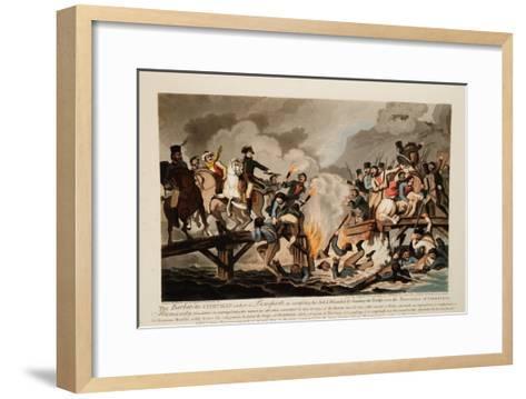 French Army Crossing the Berezina in November 1812, 1813-John Hassell-Framed Art Print