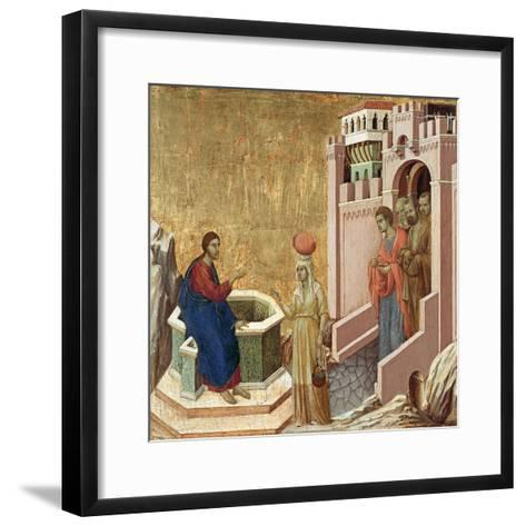 Christ and the Samaritan Woman-Duccio di Buoninsegna-Framed Art Print