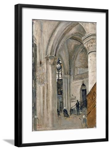 Interior of the Church at Mantes-Jean-Baptiste-Camille Corot-Framed Art Print